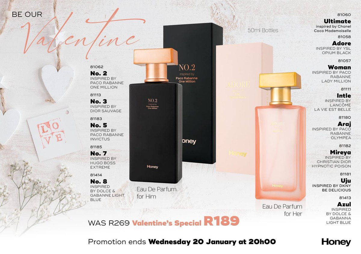 Valentine's Day is around the corner, 50mls perfume inspired by big brands like G&G etc..get it on special R189 only up until Wednesday. Black ones are for males (left), On your right it's for the Ladies #black #women #sidemansitdowns #BlackOwnedBusiness #AKA1908