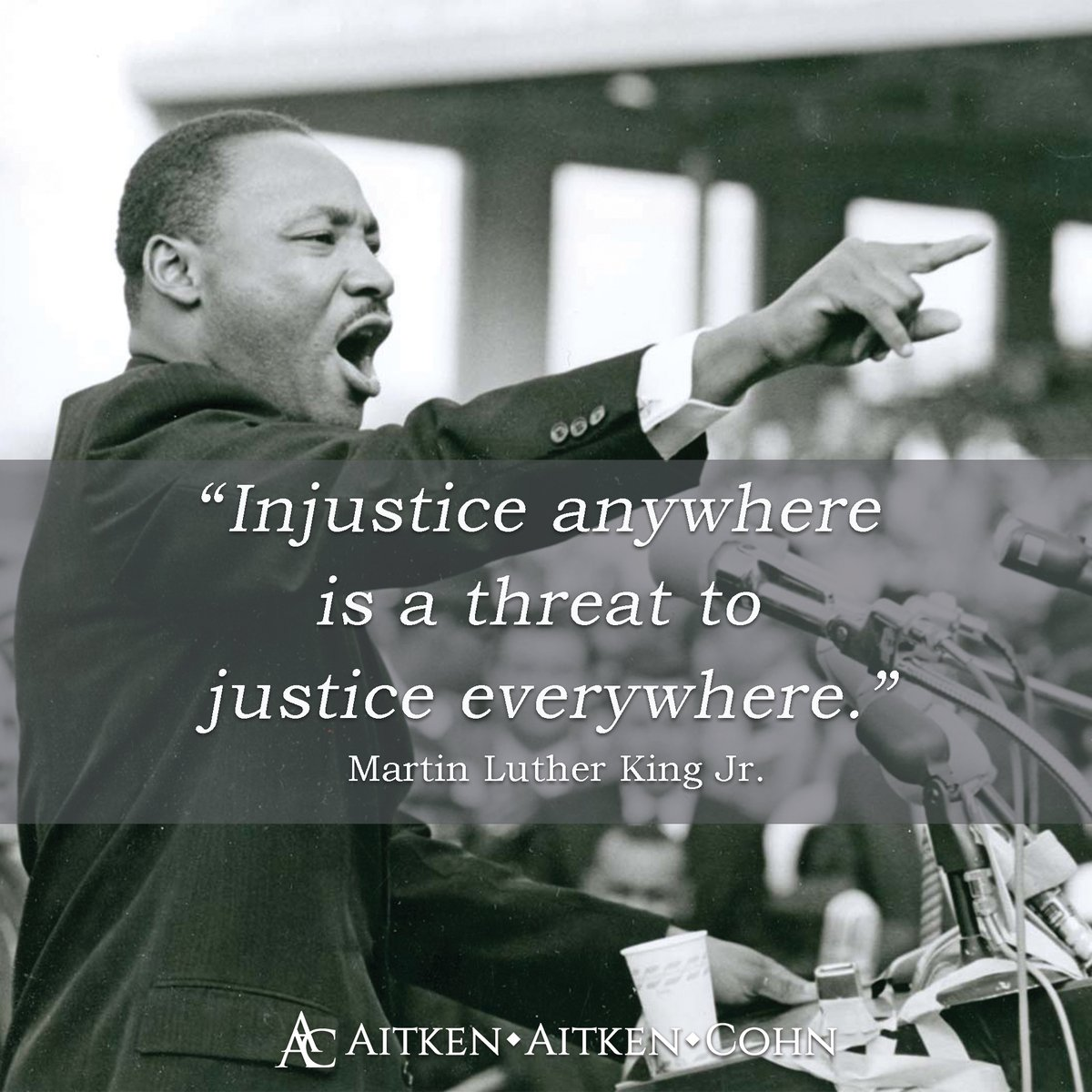 Today, Aitken Aitken Cohn remembers the legacy and indelible mark Dr. Martin Luther King Jr. left.  #MLKDay #MartinLutherKingDay