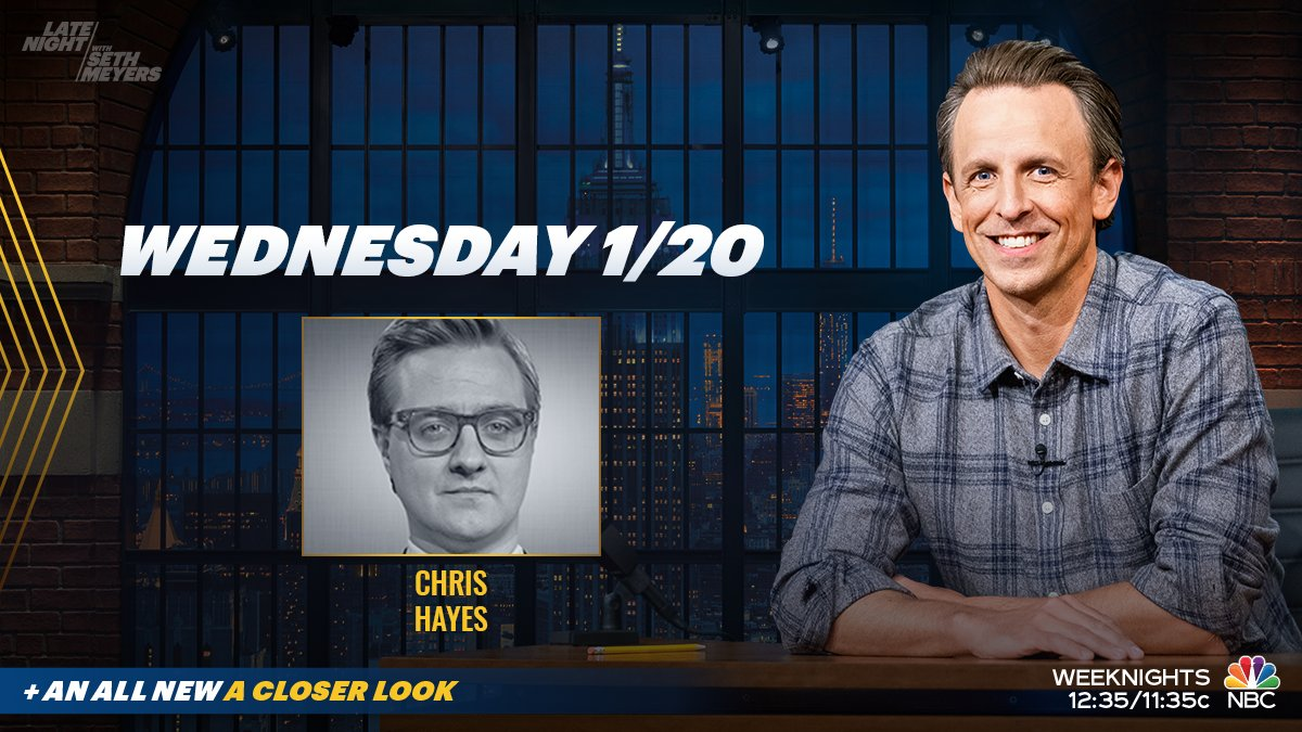 Tonight, @SethMeyers welcomes @chrislhayes to discuss President Biden's inauguration! Plus, #ACloserLook at the beginning of a new era.