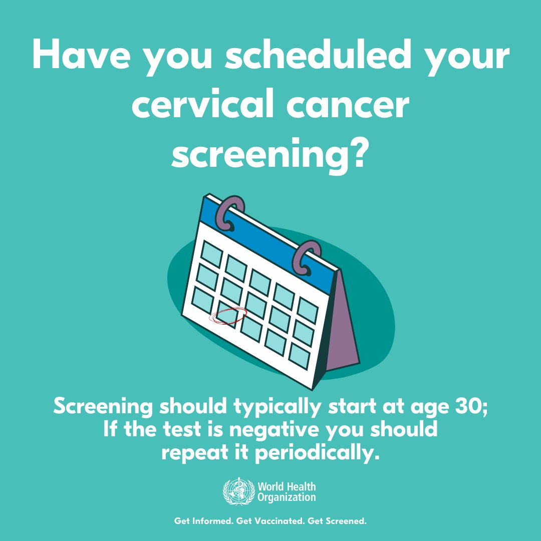 It's #CervicalCancer Awareness Month!  All adult women 👩👩🏾‍🦱 🧕👩🏻 should undergo periodic screening to detect pre-cancer changes in the cervix which, if untreated, can develop into cervical cancer 👉