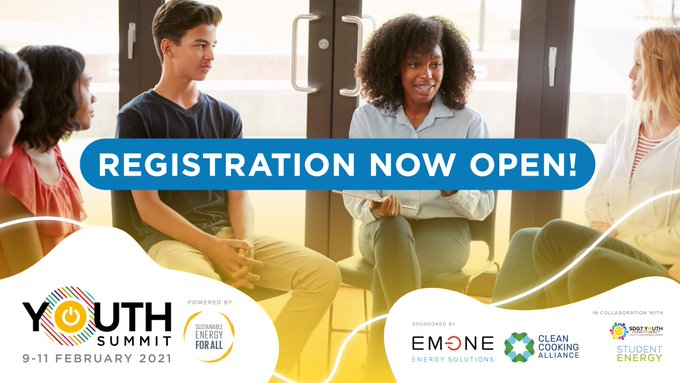 📣⚡Big news!⚡📣  Registration for the #SEforALL Youth Summit is now open!  The virtual Summit will empower young global #energy leaders to support a just, inclusive energy transition that delivers faster #SDG7 & #ParisAgreement progress.  Join us there➡️