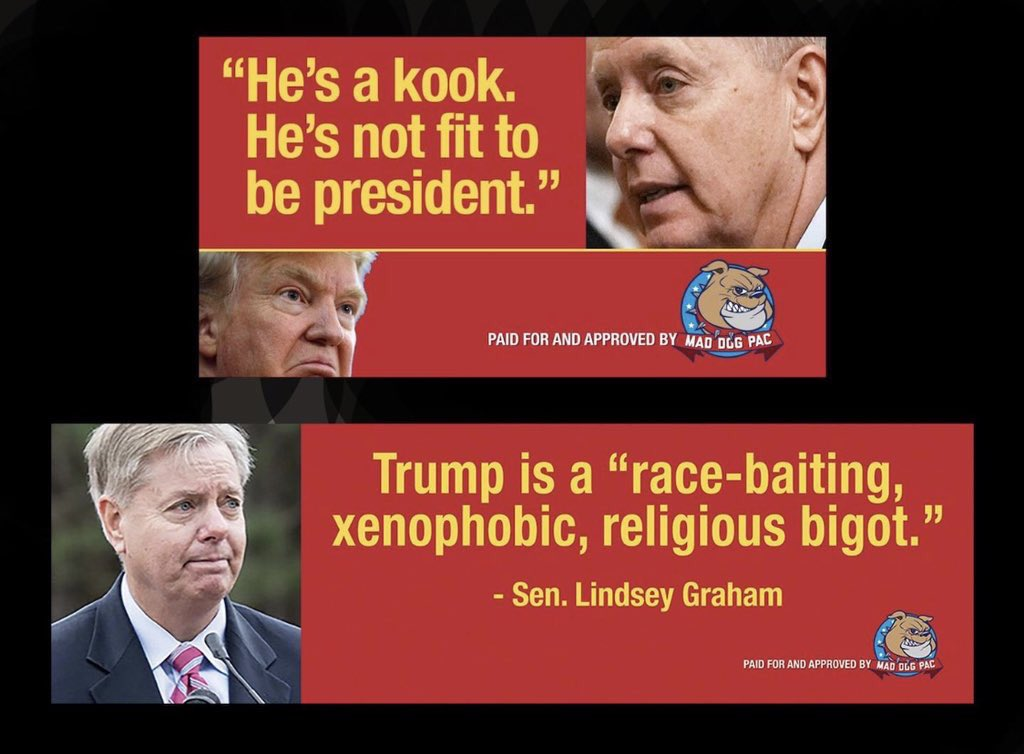 @ReallyAmerican1 @LindseyGrahamSC   Whatever he is blackmailing you with, it can't be worth it. Because you KNOW he will tell everything about everyone when he's cornered.  You can't make deals with a Narcissistic sociopath.