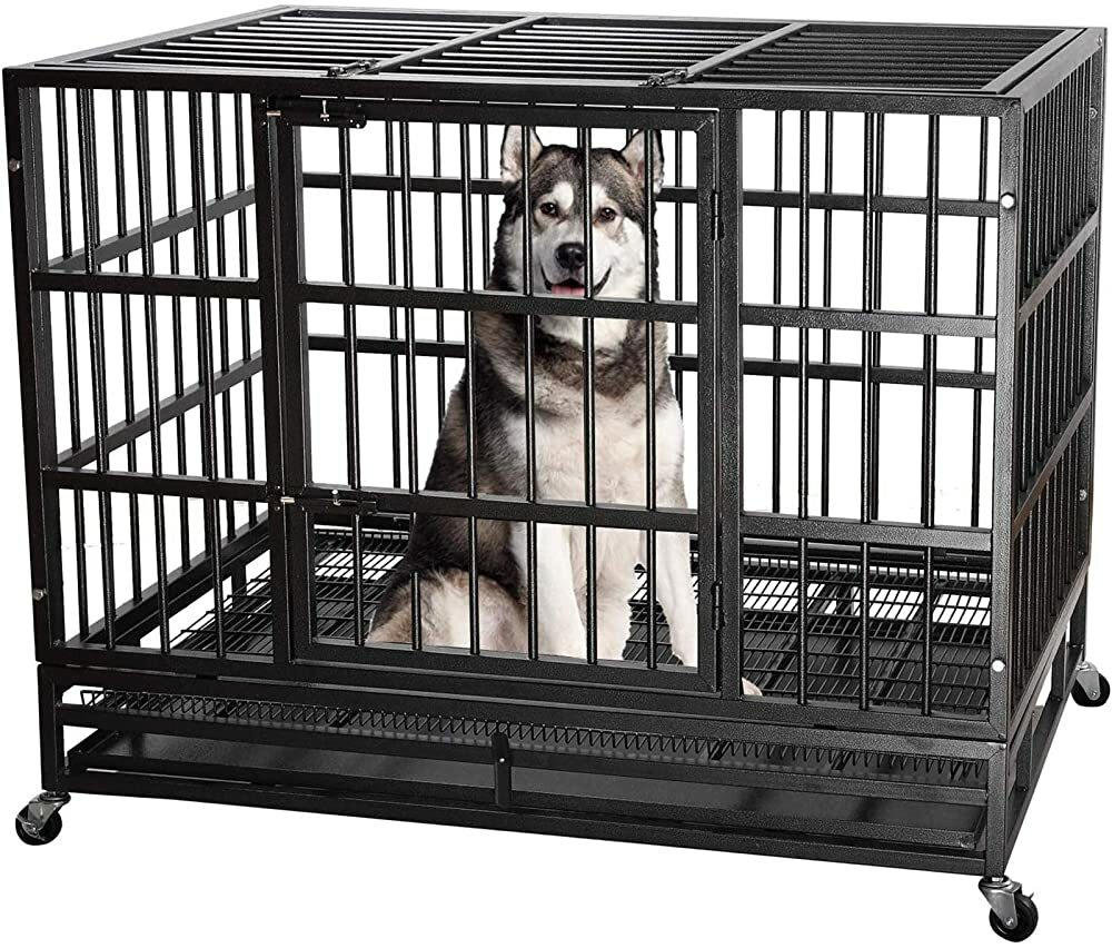 ITORI Heavy Duty Metal Dog Cage Kennel Crate and Playpen for Training Large Dog Indoor Outdoor with   #gifts #giftideas #dog #cat #puppy #pets  #blackfriday #thanksgiving #cybermonday @amazon #amazon #primeday
