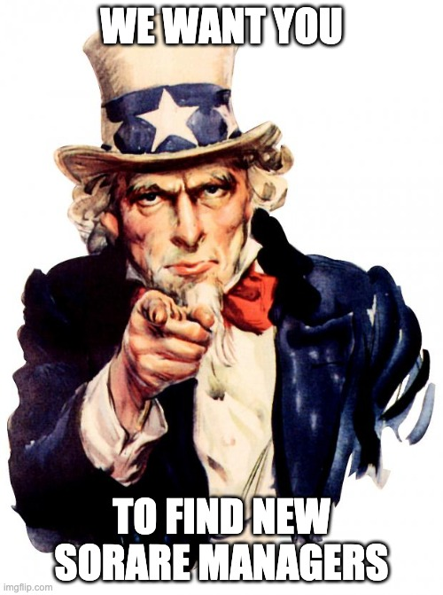 HOW TO HELP US (and Sorare and yourself)  One FREE way to do it is... recruiting new Sorare managers!  If a friend wants to sign up, give them this link:   It directly supports us through primary market acquisitions. It will help SD to stay free... forever?