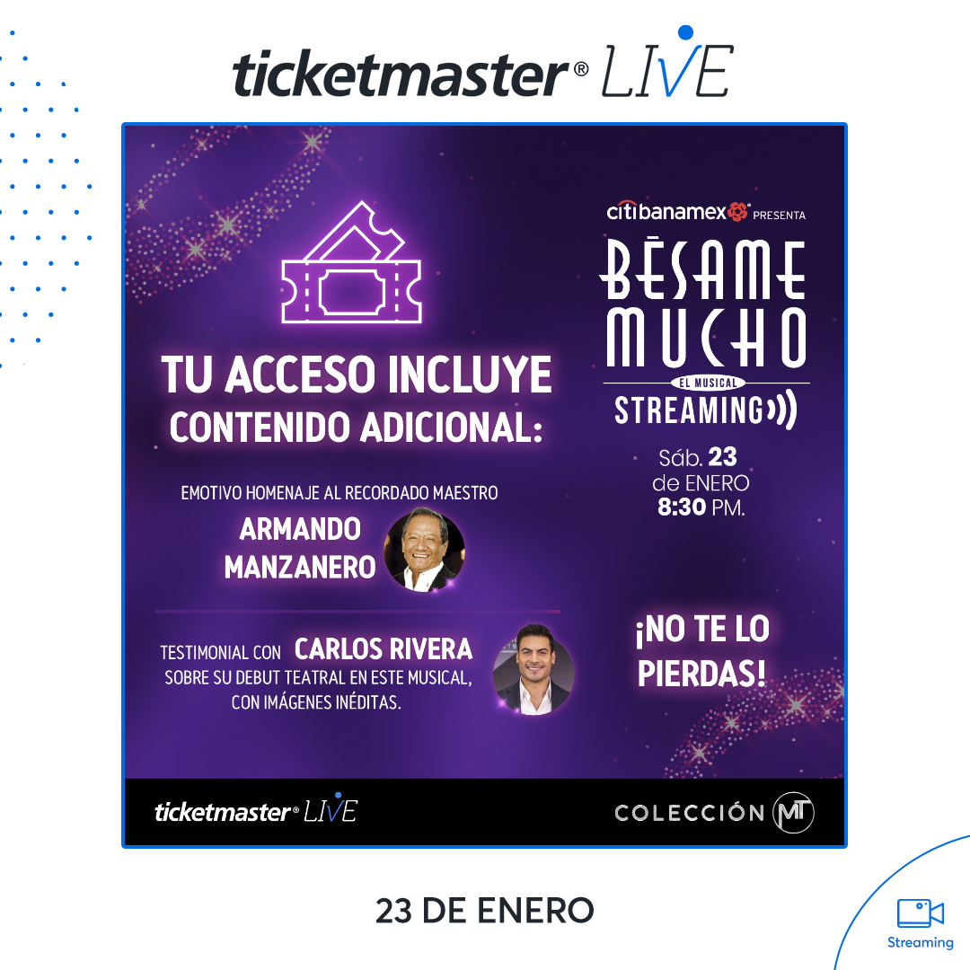@Online_Rivera @Ticketmaster_Me @_CarlosRivera .@Ticketmaster_Me : 💋 Un emotivo homenaje a #ArmandoManzanero y un testimonial con @_CarlosRivera te esperan este sábado en el streaming de #BésameMucho.  Aún puedes adquirir tu acceso aquí 👇