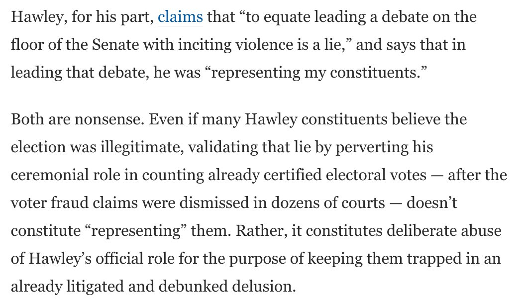 @NewYorker @propublica @JVLast Josh Hawley claims that in leading objections to Joe Biden's electors, he was merely representing his constituents.  This is steaming nonsense. In so doing, he's actually doing them a severe disservice. Here's why:  https://t.co/u98BQfXxeV https://t.co/KPpXIcYsQH
