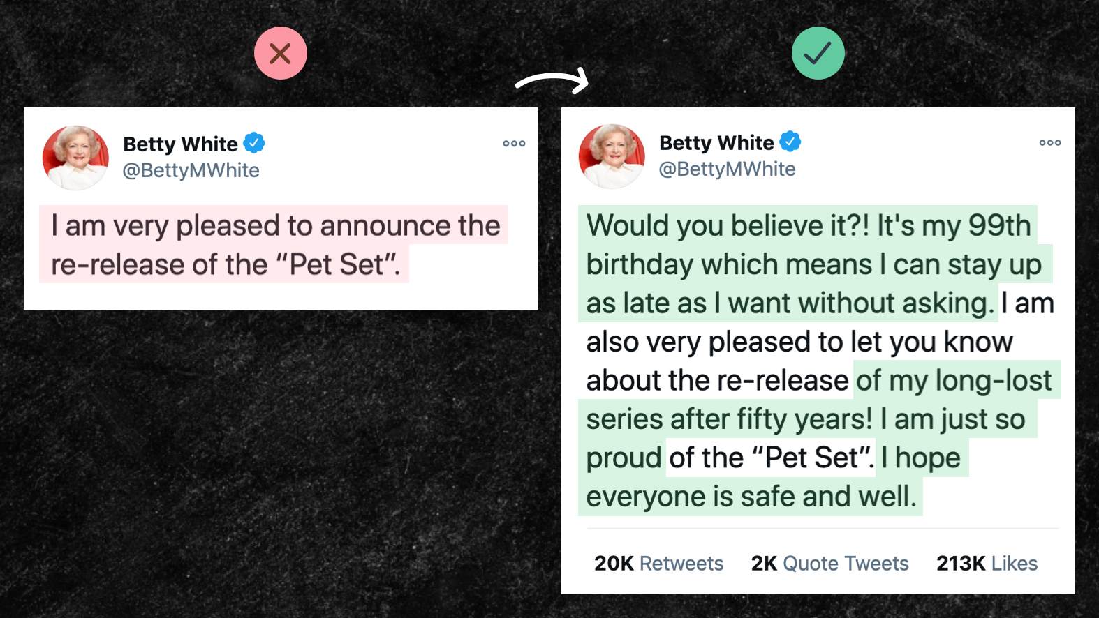 """Photo of a side-by-side tweet comparison. The bad tweet on the left reads """"I am pleased to announce the re-release of the pet set. The good tweet on the right reads """"Would you believe it? It's my 99th birthday which means I can stay up as late as I want without asking. I am also very pleased to let you know about the re-release of my long-lost series after fifty years! I am just so proud of the pet set. I hope everyone is safe and well."""""""