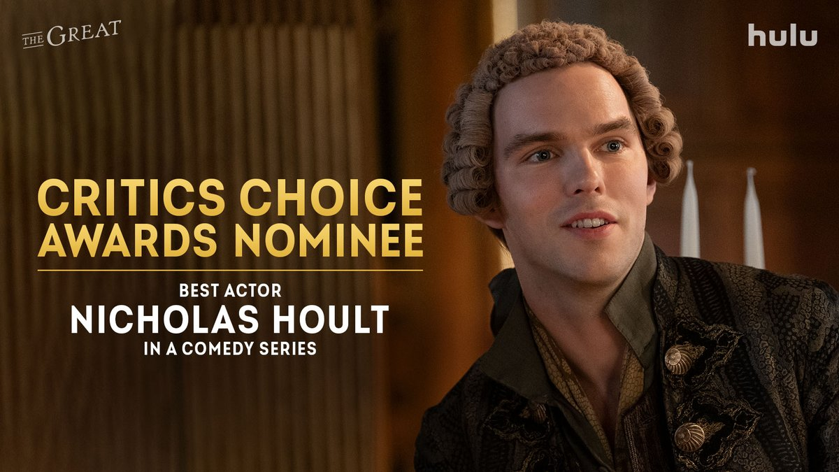 Congratulations to @NicholasHoult for his @CriticsChoice nomination for Best Actor in a Comedy Series. Huzzah for Emperor Peter! 🥂🤴 #TheGreat