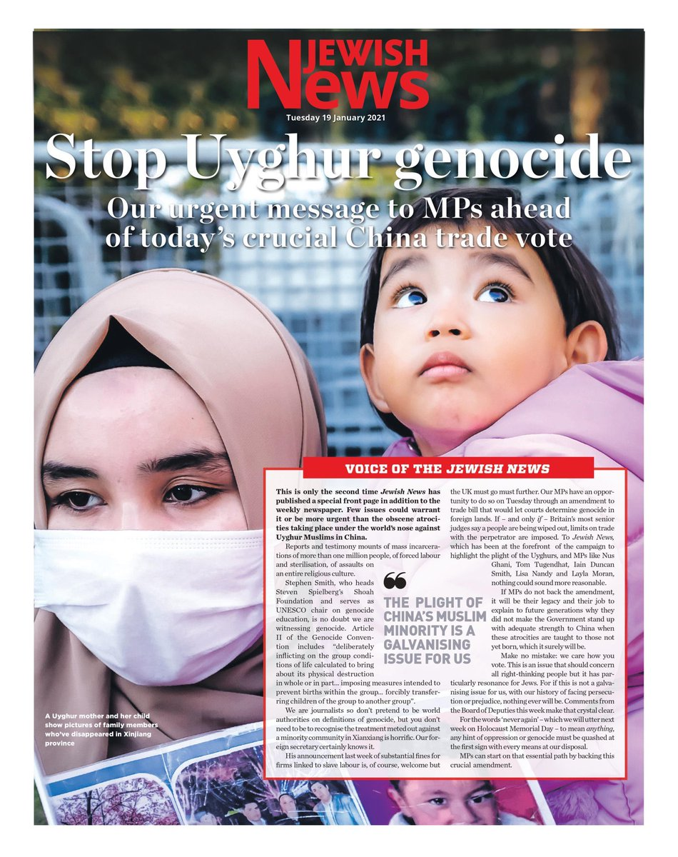 Only once before have we published a special front page in additional to the weekly newspaper. Until today. But it doesn't get more urgent than the light of the uyghurs   @Nus_Ghani @MahmutRahima @lisanandy @TomTugendhat