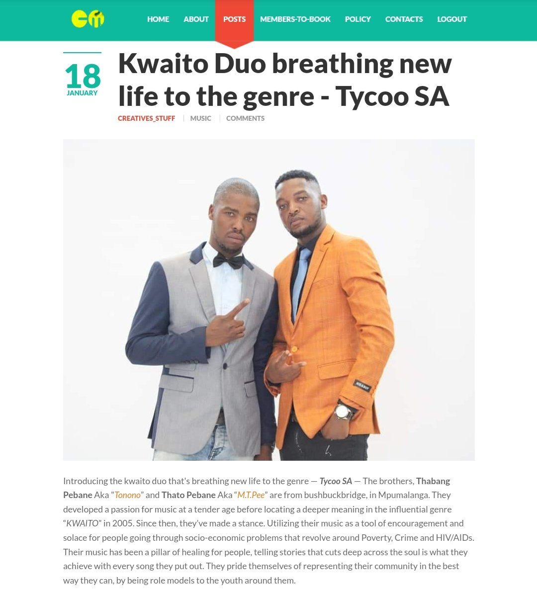 kwaito duo breathing new life to the genre - @Tycoo_SA - They developed a passion for Kwaito music at a tender age, Utilizing their music as a tool of encouragement and solace for people going through socio-economic problems. Read -   #COVID19 #gomora #SA