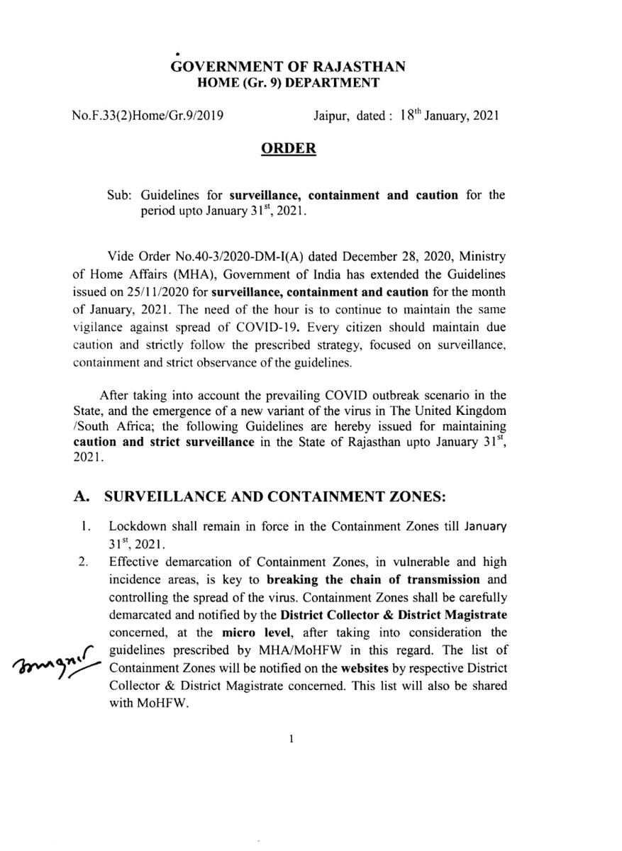 Government of Rajasthan's Home (Gr-9) Department has issued an Order #Rajasthan 3/1