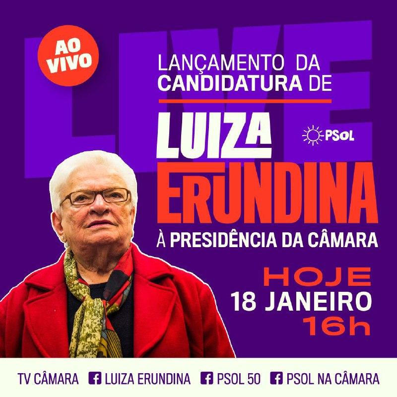 Logo mais haverá o lançamento da candidatura de nossa guerreira @luizaerundina à presidência da Câmara. Acompanhe ao vivo no Facebook