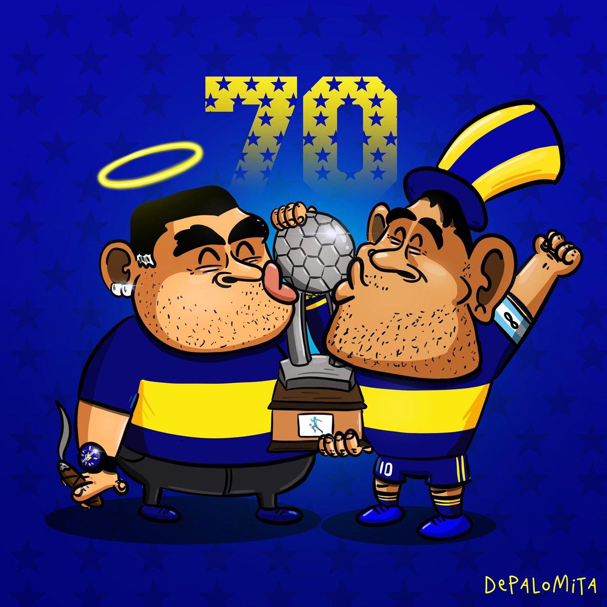 El Diegote está feliz 💙🔟💛  #bocacampeon #maradona #tevez #xeneize #lacopadel10sequedaencasa #bocajuniors #futbolargentino #ligaprofesionaldefutbol #caricatura #ilustracion #depalomita