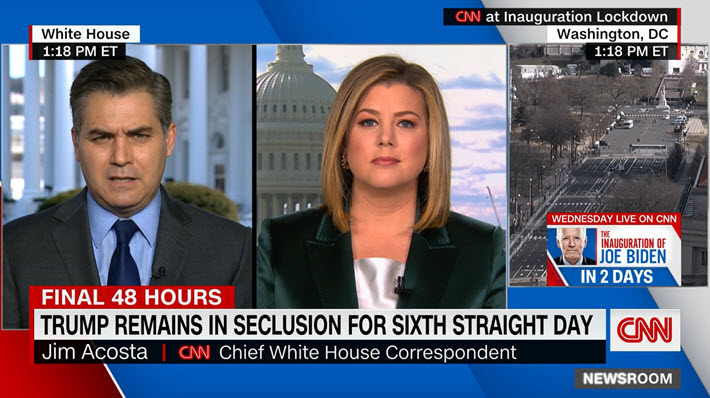 "Media: @Acosta to @brikeilarcnn: ""Outgoing #DonaldTrump wants a big send-off, he wants a big turnout"" at @Andrews_JBA. ""Whether he gets it remains to be seen, but it's going to be an infamous image because this is a president who's not wanted in the nation's capital anymore."""