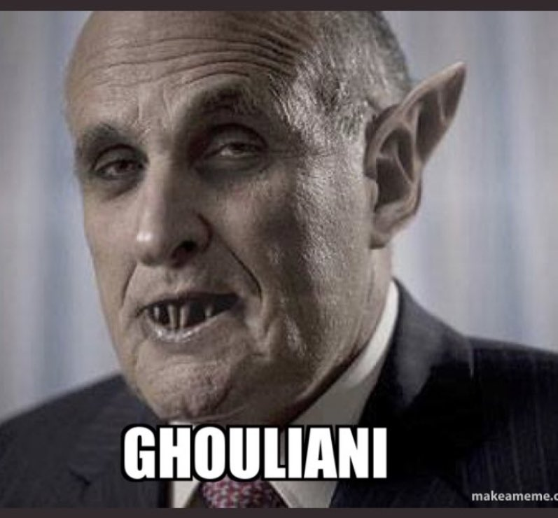 """""""Due to the #RacistInChief stiffing me of my legal fees, I will not be representing his #CorruptTrump ass in his impeachment. But I have other plans for him.""""-Ghouliani #Giuliani #ImpeachmentDay #TwamilyTag"""