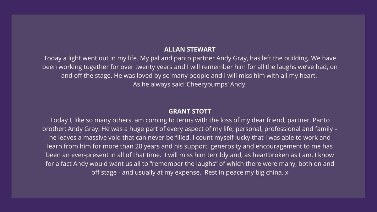 Allan Stewart and Grant Stott pay tribute to Andy Gray.  @AllanMayStewart @GrantStottOnAir