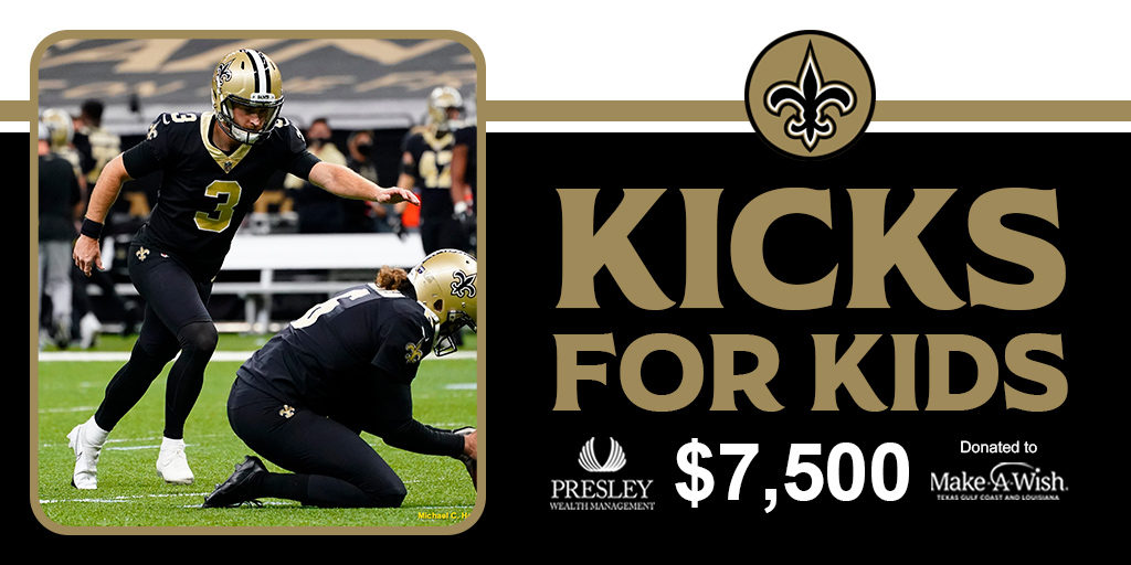 Closing out the season with a $7,500 donation to @MakeAWish through @PresleyWealth's Kicks for Kids program, which donated $300 for every field goal made ♥️