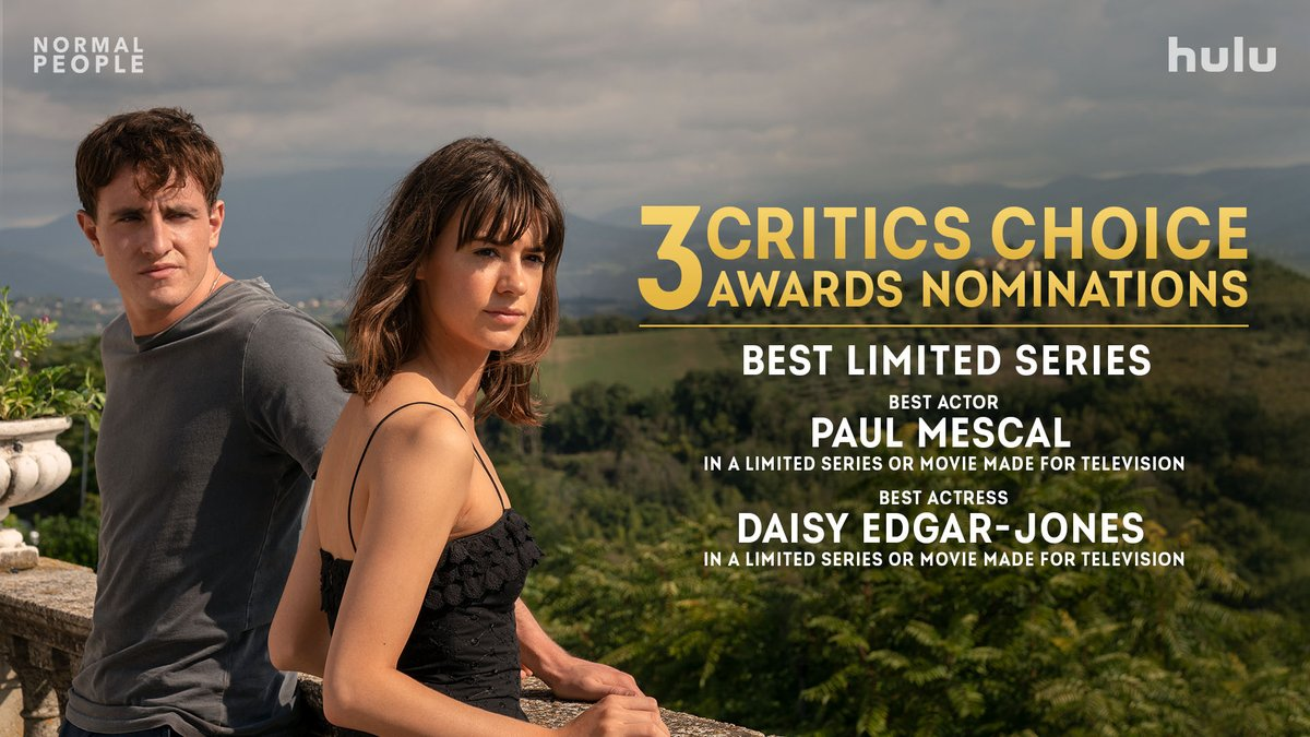 Let this love last forever. #NormalPeople has received 3 @criticschoice nominations, including Best Limited Series and Best Actor & Best Actress for @mescal_paul and @DaisyEdgarJones. ❤️