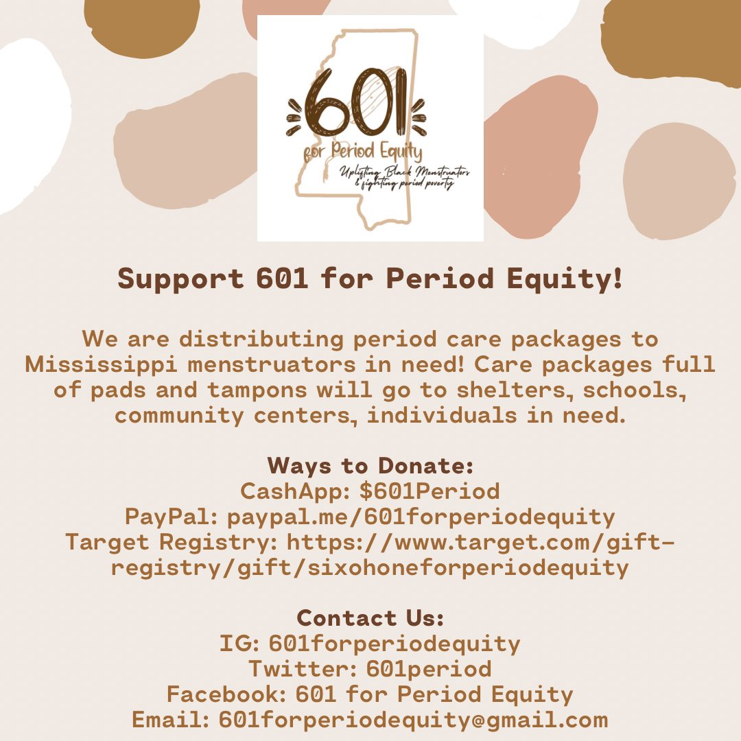 A huge thank you to everyone who has shared and donated to @601Period!We were able to raise almost $300 already, enough to make 75 care packages for menstruators in need. Please continue to share and donate, our work isn't over✊🏾