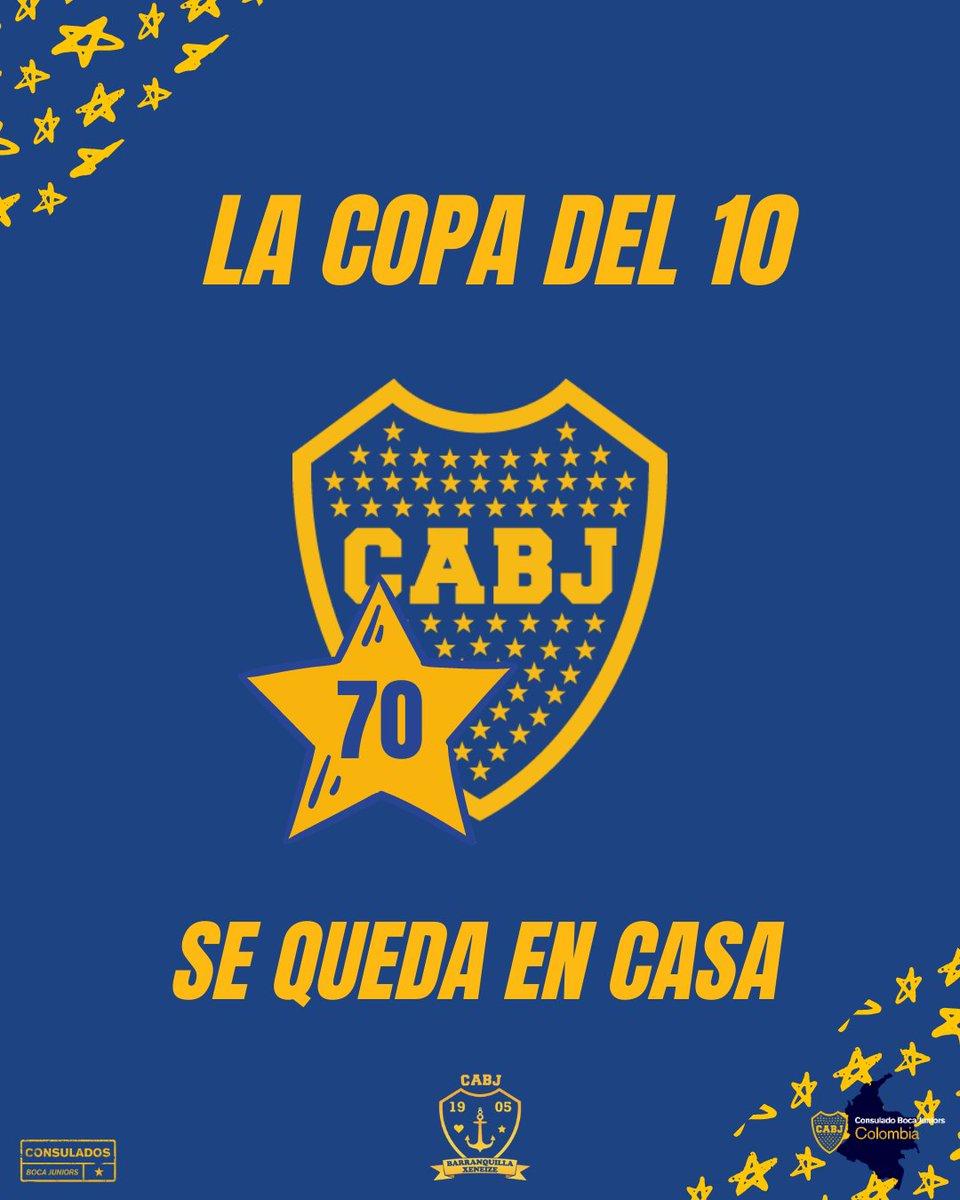 """Barranquilla Xeneize's tweet - """"La copa del 10 #SeQuedaEnCasa 💙💛💙 """" -  Trendsmap"""