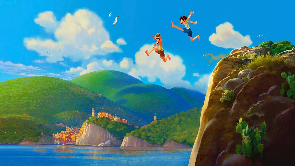 """Pixar's LUCA will """"pay homage to Fellini & other classic Italian filmmakers, with a dash of Miyazaki in the mix too.""""  The film is a coming-of-age story as 2 friends grow up in Italy who are actually sea creatures who appear human on dry land.  (Source: )"""