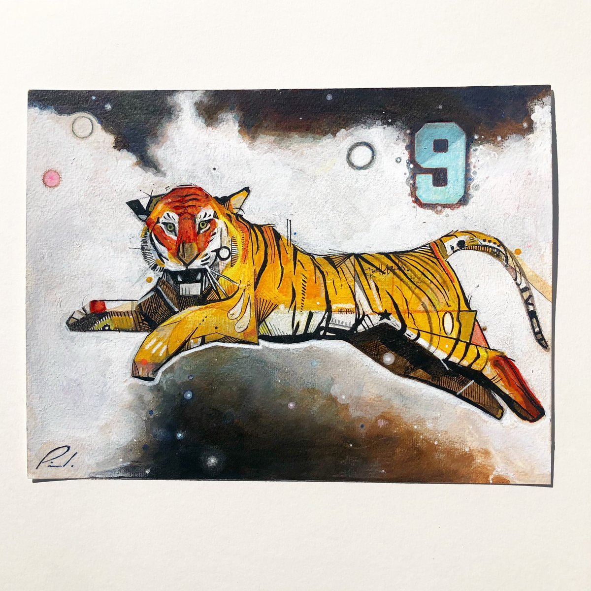 Untitled  8x12 Mixed media on paper I will be making some stickers of just the tiger. So stay tuned 🤙🏼😎 🐅  . . . #tiger #untitled #abstractart #art #mixedmedia #paper #art #nine #nueve #eyeofthetiger #stickers #comingsoon #staytuned #contemporary #modern #contemporaryart