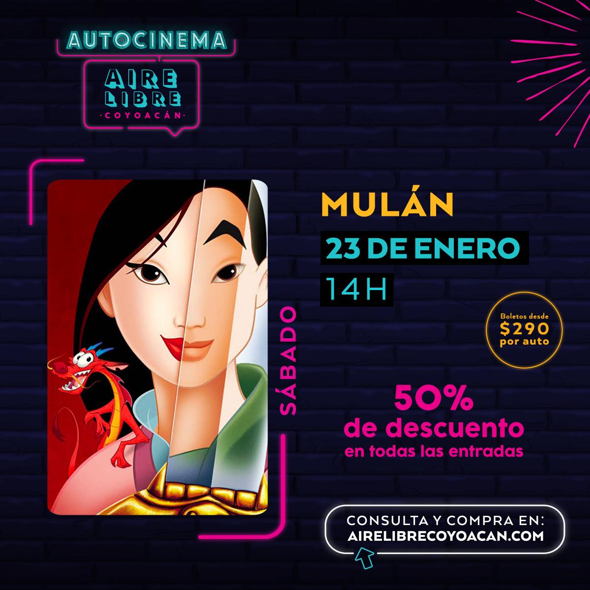 #Mulan y su espada llegan a luchar en #AutocinemaAireLibre. Trae a toda la familia y pasen un rato padrísimo con todas las medidas de #sanitizacion. Compra tus boletos con 50% de descuento aquí