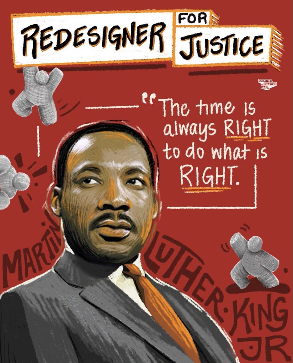 At @crxlab, we celebrate #martinlutherkingjr, #corettascottking & the thousands of activists & community organizers that have & continues to fight for Black lives, Black equity, & Black Liberation. They are true examples of #redesignersforjustice. What's your justice?
