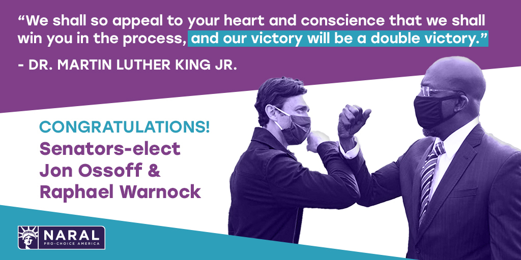 SIGN THE CARD! We're congratulating @ReverendWarnock and @ossoff on their historic wins in Georgia—and we're encouraging them to honor Dr. King's legacy by working to advance reproductive and social justice. Add you name ➡️  #MLKDay