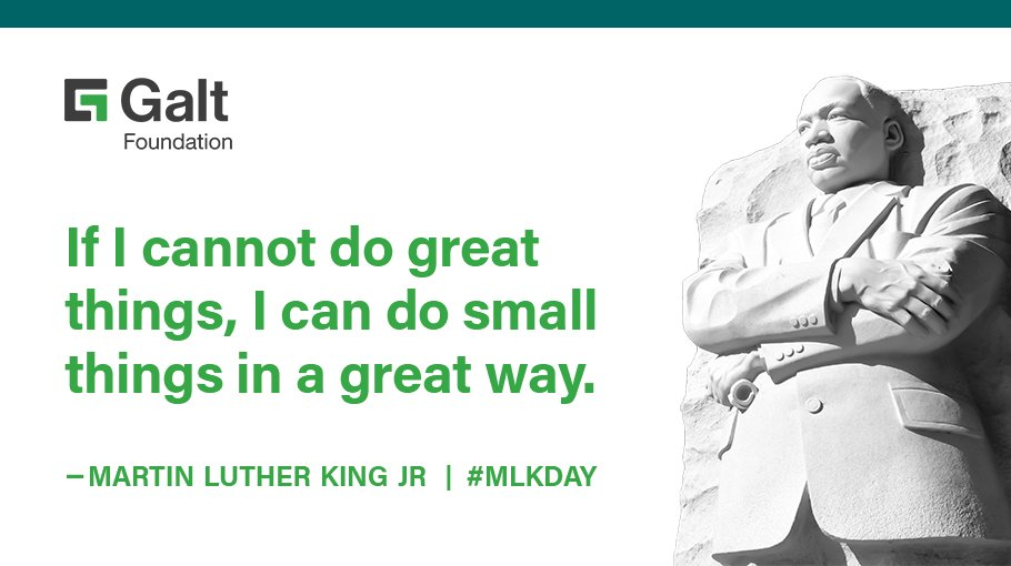 Martin Luther King Jr. was an influential leader who advocated for #CivilRights and #equality. Today, on #MLKDay, let's celebrate all that he stood for, and let's remember to apply his principles in our everyday lives.   #GaltAtWork #EmployeesWithDisabilities