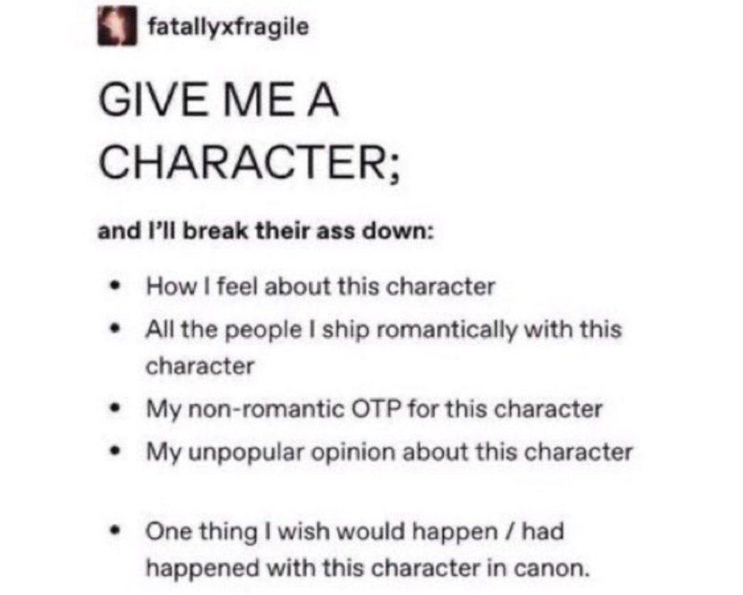omg do this maybe 👉🏻👈🏻 (some of the fandoms i'm in: hp, pjo/hoo, tmr, mcu, sherlock, merlin, many musicals, lotr, st, and im surely forgetting so many others but)