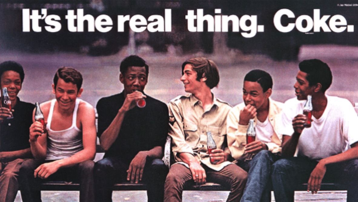 """Here it is...the first time ever in human history that black people and white people were seen in an ad together.  """"Boys on a Bench"""" 🧵👇"""