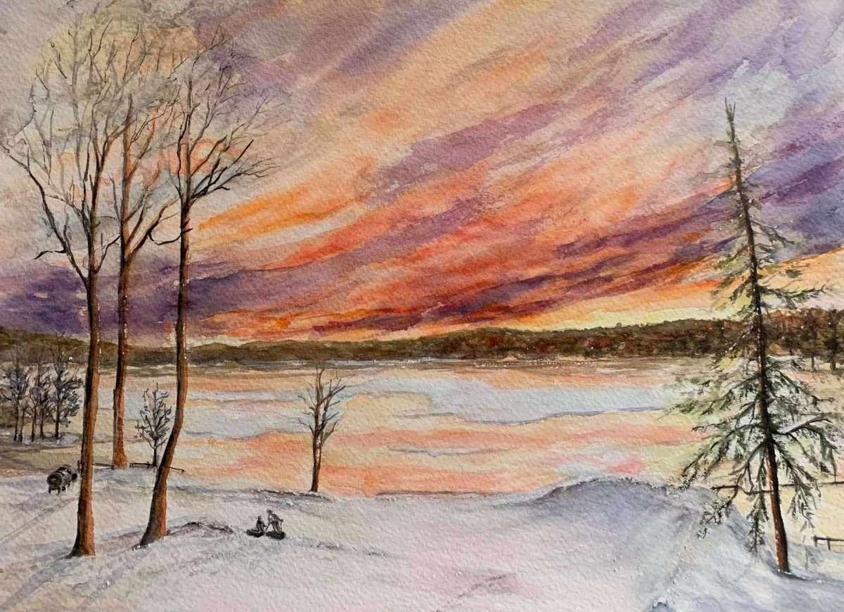 Just had to share this absolutely breathtaking #watercolor painting of our lakeside snowtube run by our friend Karen! Always love seeing some fan art!  #poconomtns #hawleyPA #winterwonderland https://t.co/Vlw6FuuTjx