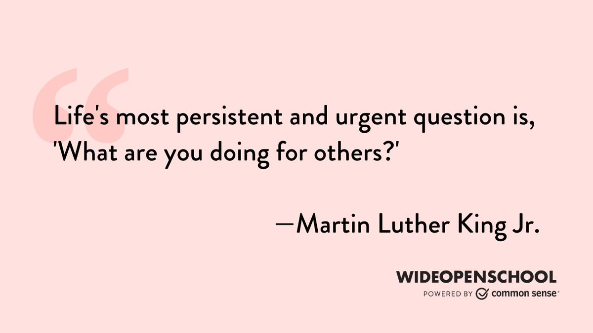 RT CommonSense: These activities can help to build a better community that respects diversity, strives for inclusion, and fights for equity. #WideOpenSchool #MLKDay