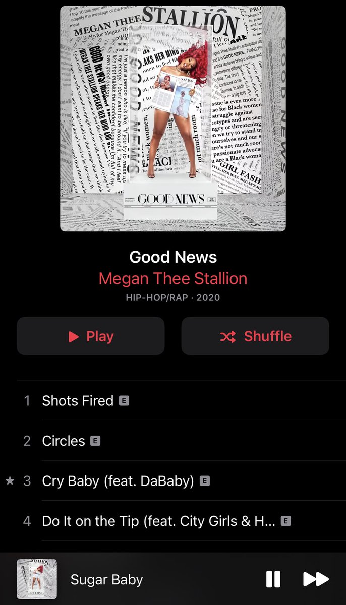 I'm probably way late to notice this, but I just saw that the album art is dynamic when you leave the music app up! The headlines shuffle and move behind her. Still loving #GoodNewsMegan (though I DID manage to listen to Christmas music last month 😂)