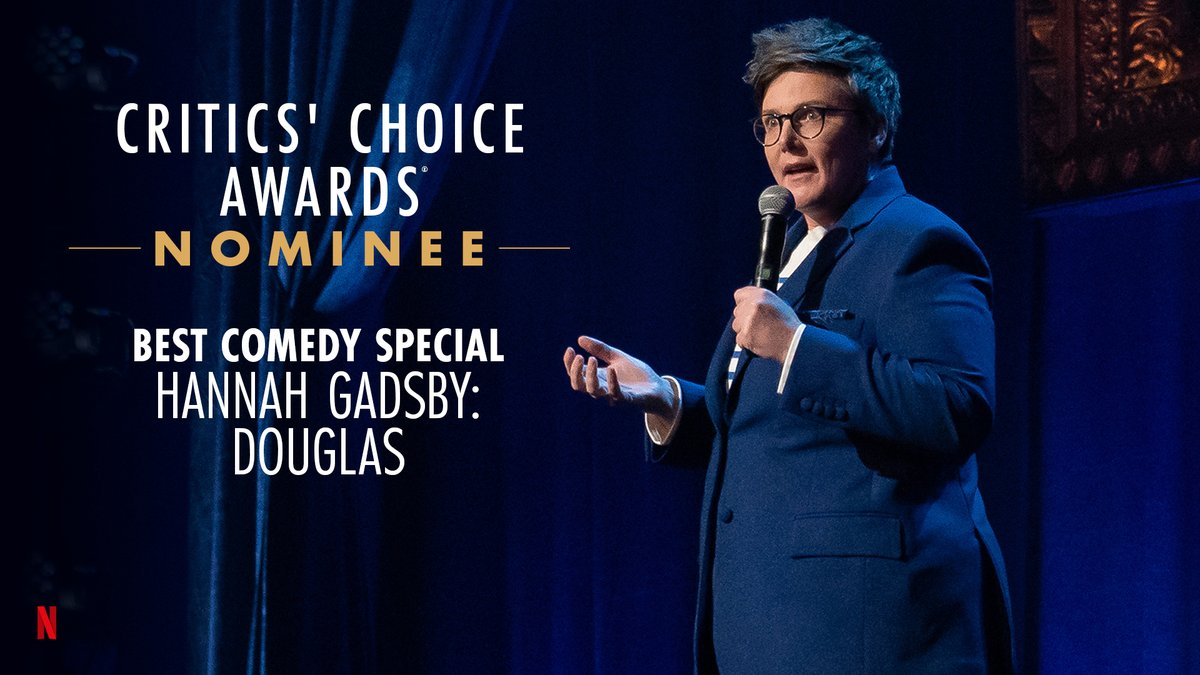 The great @Hannahgadsby is nominated for Best Comedy Special at the @CriticsChoice Awards for Hannah Gadsby: Douglas!