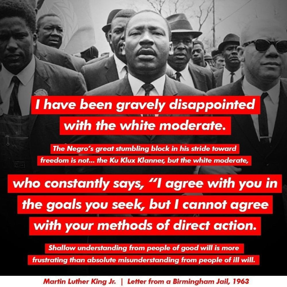 We encourage our white members to reflect on, internalize, and allow this quote from #MLK to guide us to #actionforjustice both on #MLKDay and beyond.