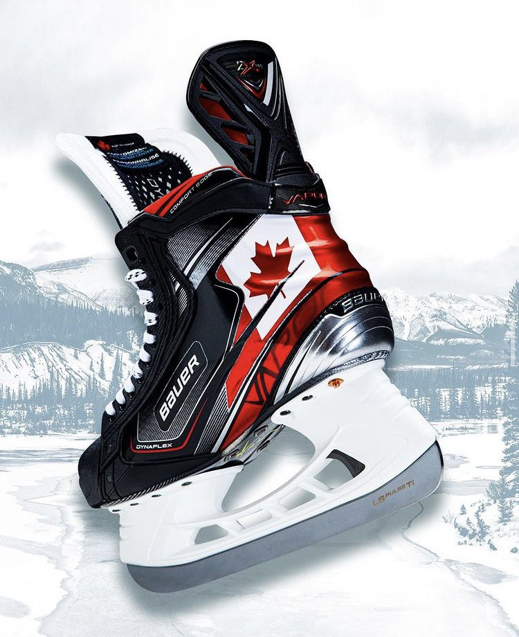 Represent the True North.  These skates and sticks were designed for Team Canada at the #WorldJuniors and now YOU can have them too. Visit us in-store to customize your #MyBAUER skates and sticks with national team graphics!