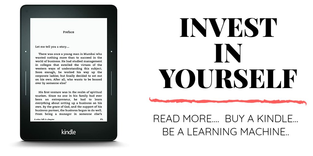 """🚀""""Be A Learning Machine""""  Get Kindle & Read More..  * All New Kindle (₹ 6799) * Paper white (₹ 10499)  Extra 10%  instant discount*  SBICards      #GreatRepublicDaySale"""