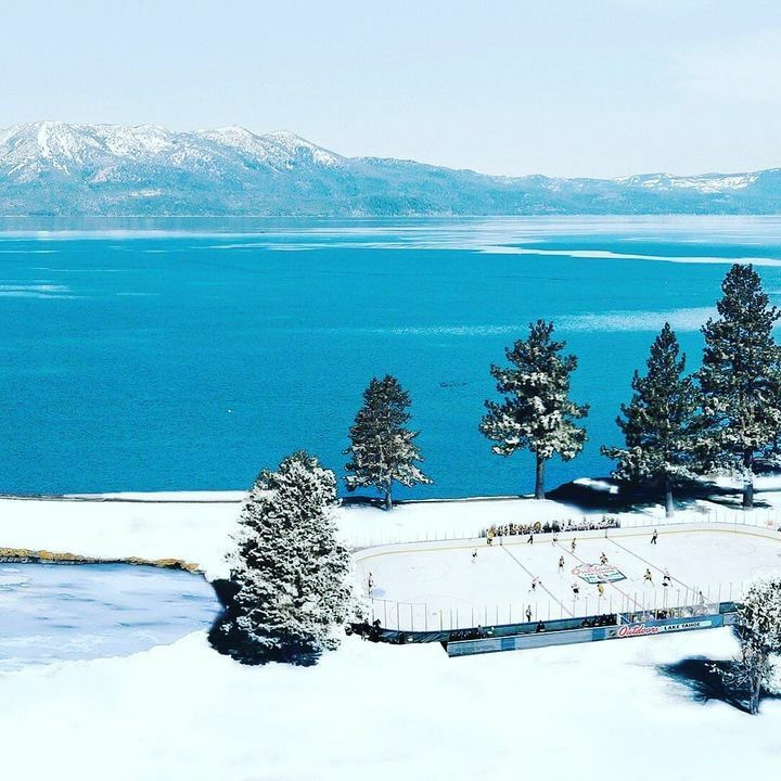 Imagine being able to play a game here 😍 #NHLOutdoors #LakeTahoe
