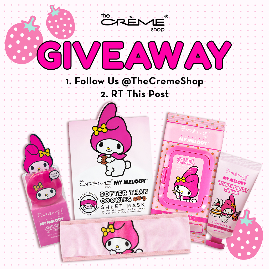 my melody #giveaway 💕✨  how to enter: 1. FOLLOW US @thecremeshop 2. RETWEET this post  we will DM the winner next wednesday! share this post daily for more entries. 🎀  explore more goodies here:
