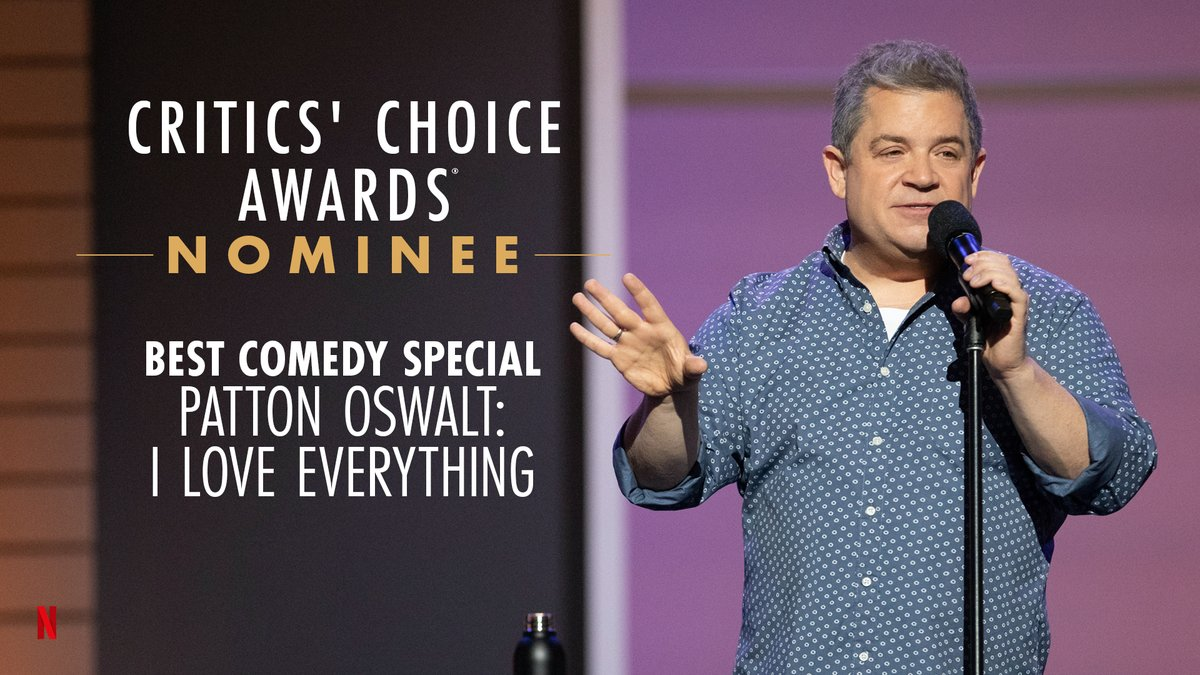 I Love Everything about @pattonoswalt being nominated for Best Comedy Special at the @CriticsChoice Awards!