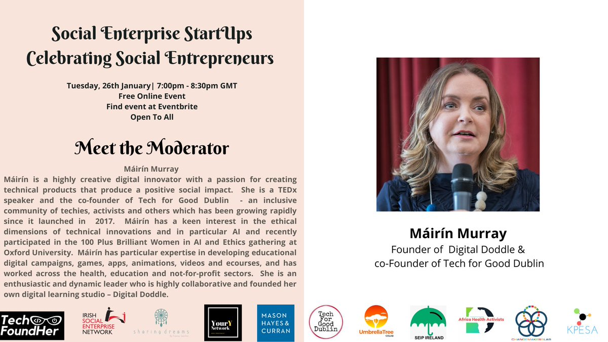 We can't wait to hear from @MairinMurray , founder of Digital Doodle & co-founder of @Tech4GoodDublin , about the great work her organisations do!    You can sign up for this great @YourYNetwork1 event here:   #KnowYourY #SocialEnterprise #TechforGood
