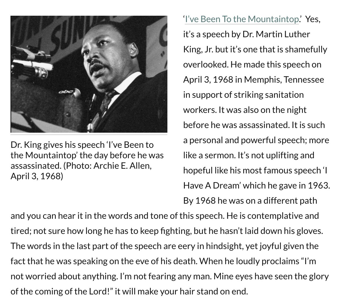 #MLKDay: 'I've Been to The Mountaintop' *is* Dr. King's best speech (audio/text of speech ). I wrote about it as part of a 'Black History Month' blog post