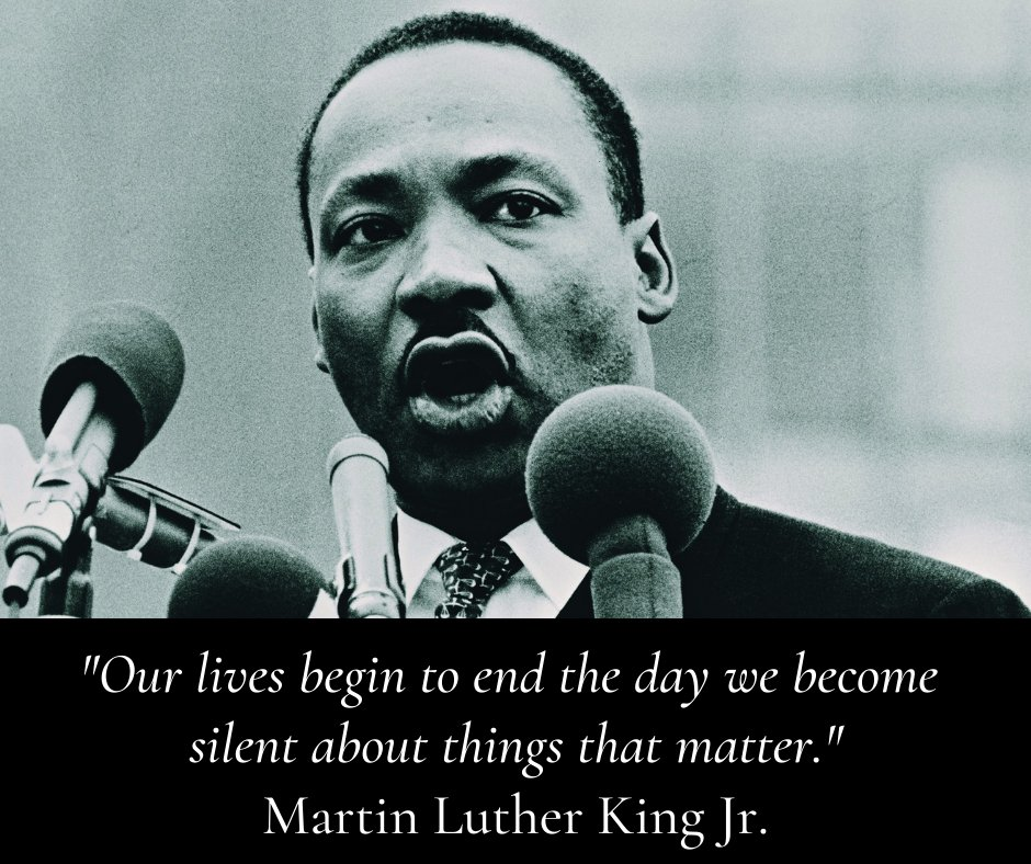 """""""Our lives begin to end the day we become silent about things that matter."""" - Martin Luther King Jr. #MLKDay"""