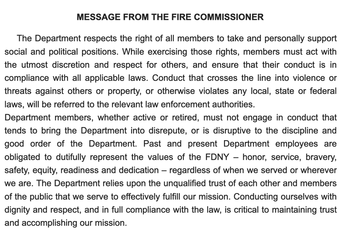 """The Department received anonymous allegations that active or retired members were present at the events at the [US] Capitol on January 6 and, as required, has provided that information to the FBI.""   — FDNY statement a week ago  The Commissioner sent out this message on Jan. 13. https://t.co/YDzKn0gqkA"