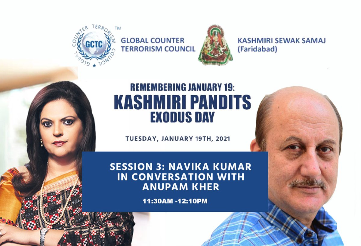 Remembering 19 Jan, 1990 Events which led to holocaust of #KashmiriHindus. 31 Years & Still #justice not done with the victims. Justice delayed, justice denied.Join @GCTCWORLD & listen to the conversation between @navikakumar & ⁦@AnupamPKher⁩ #KPGenocide #KashmiriHinduExodus