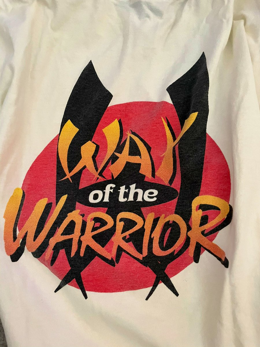 And if you really want to go back in time, this is the Way of the Warrior t-shirt @Jason_Rubin @asgavin and @cerny gave me in 1994 just before the game was released for 3D0.