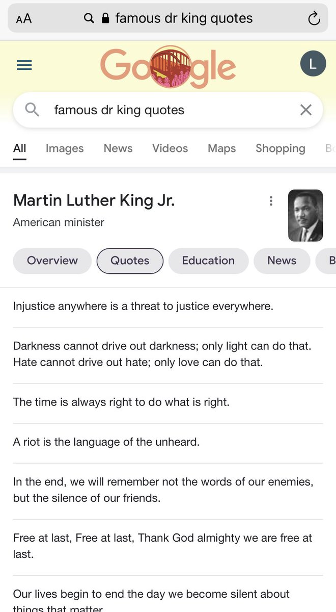 IDK who needs to hear this but it's ok to save the Twitter picture quote platitudes today and either do something in service of someone else in honor of Dr. King OR just ya know enjoy the day off & afternoon basketball. But googling 👇🏽 once a year doesn't mean anything. Cool?