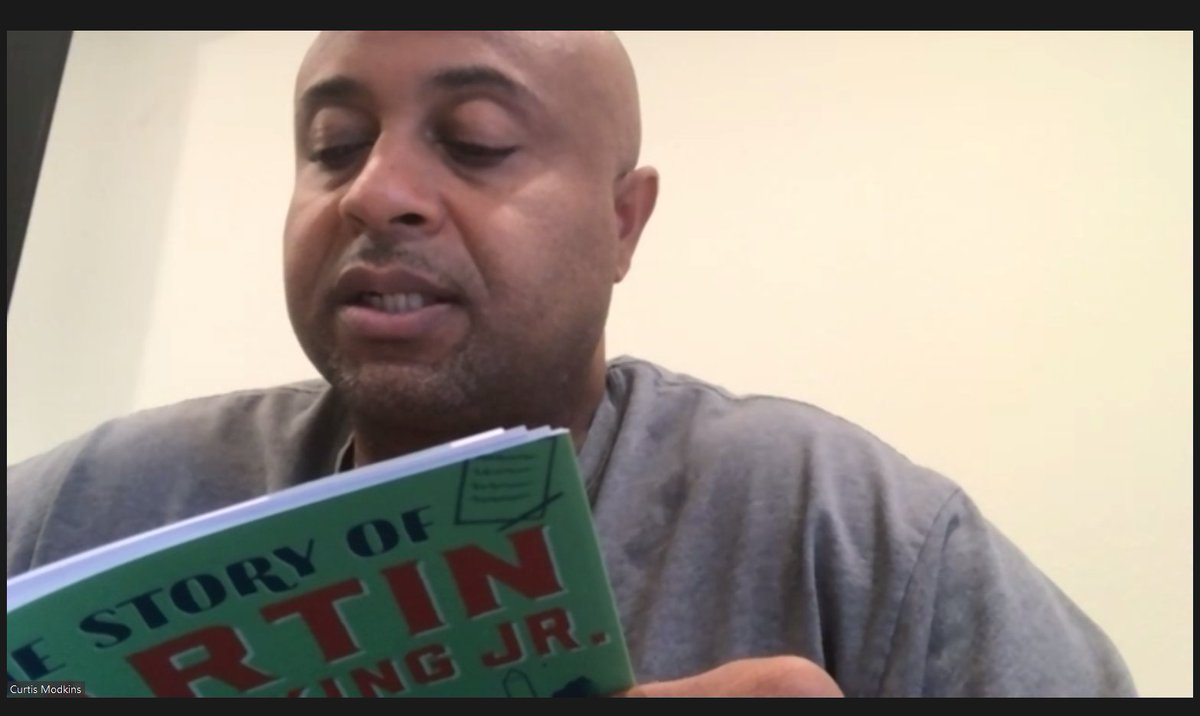 """In honor of #MLKDay, @Broncos Running Backs Coach Curtis Modkins reads """"The Story of Martin Luther King Jr."""" by Christine Platt.  📘:"""